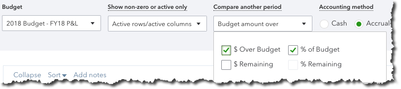 Settings for QuickBooks Online reports